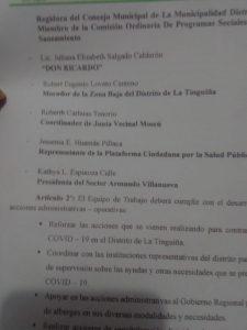 Org. integran Mesa multisectorial de la lucha contra el COVID-19